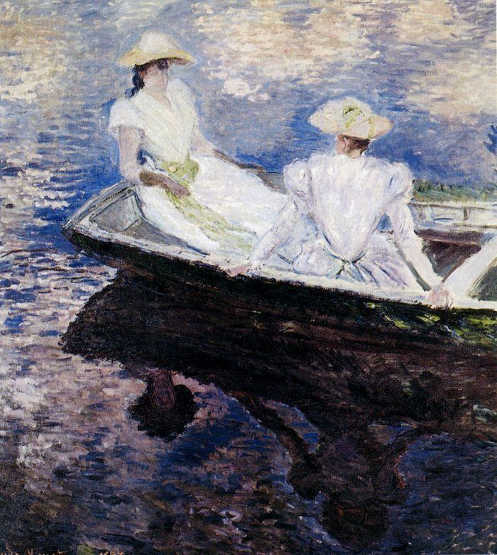 Girls In A Boat by Claude Monet #art