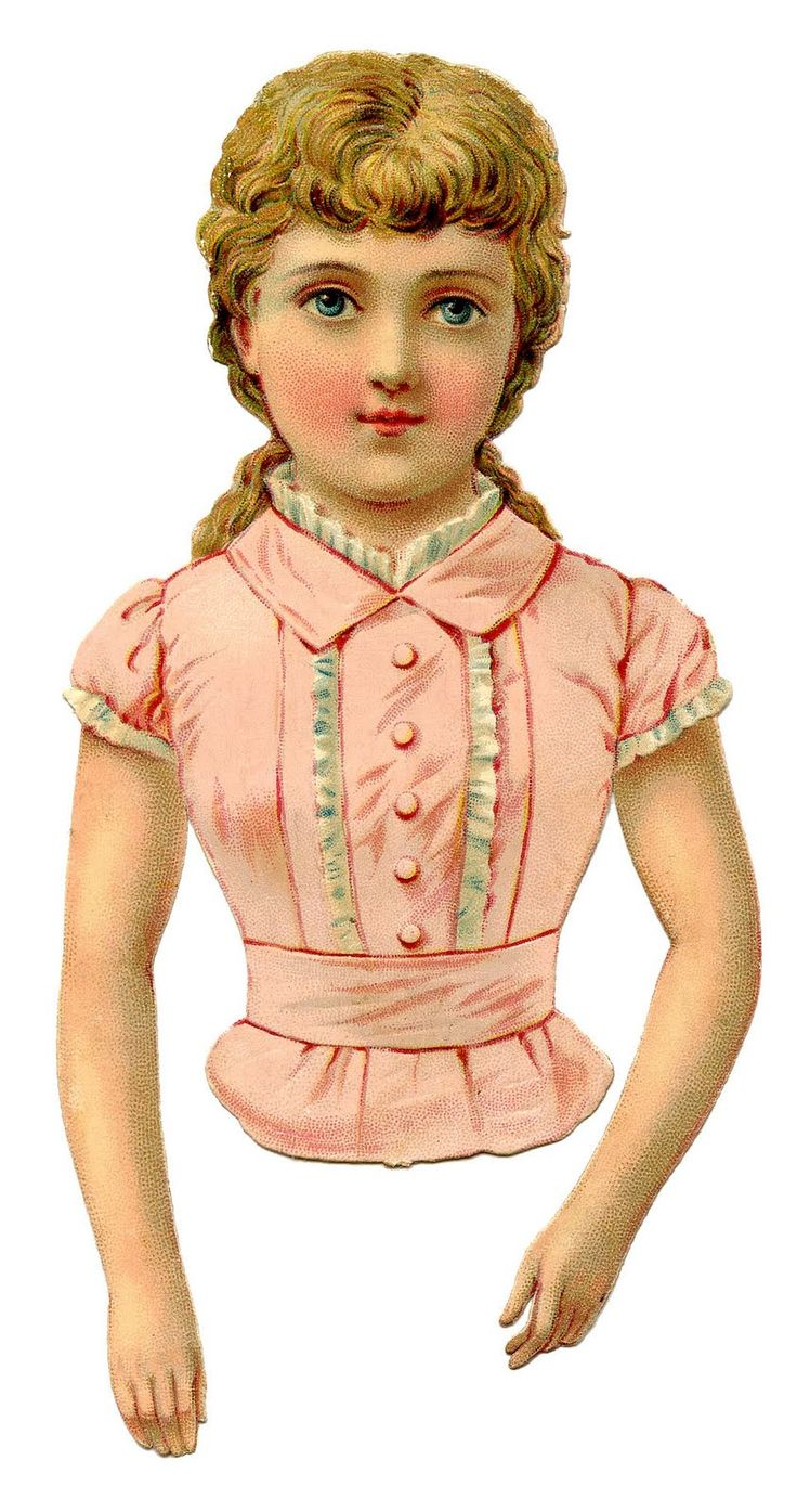 *The Graphics Fairy LLC*: Victorian Clip Art - Pretty Pink Scrap Girl or Paper Doll (Print and cut out with a skirt looking bottom to wrap lace around.)