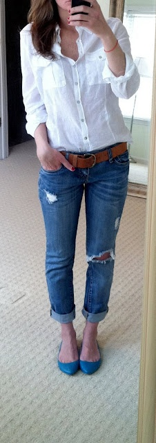 boyfriend jeans rolled up, white shirt, brown leather belt...comfy, casual, and classic