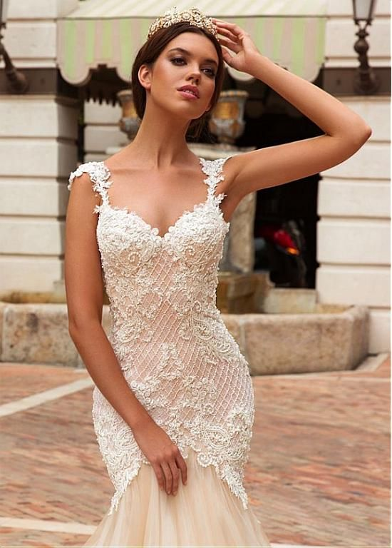 Magbridal Eye-catching Tulle & Satin V-Neck Mermaid Wedding Dresses With Beaded Lace Appliques