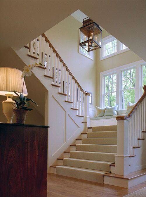 Love The Bench Seat Idea On The Landing   Extra Wide Staircase With Triple  Windows And Bench At Landing: When I Build My Second Story!