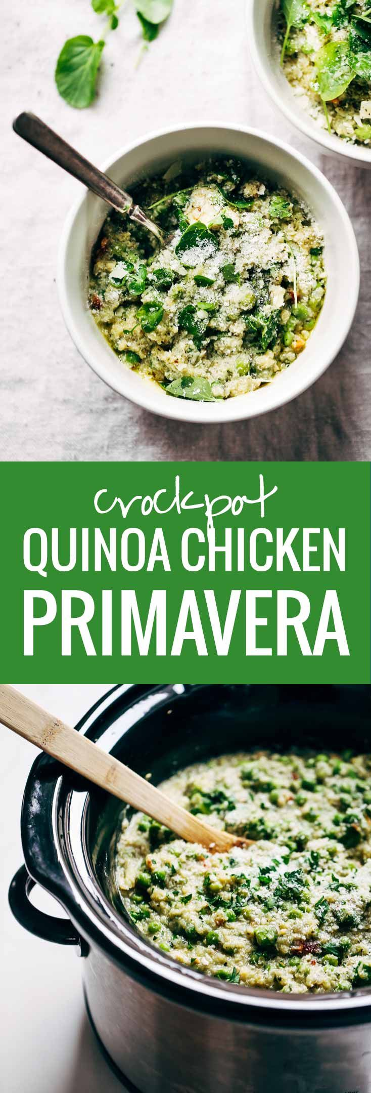 This Crockpot Quinoa Chicken Primavera is both healthy and comforting  plus it makes for a super easy dinner  Loaded with peas  asparagus  quinoa  garlic  parmesan  and chicken  YUM