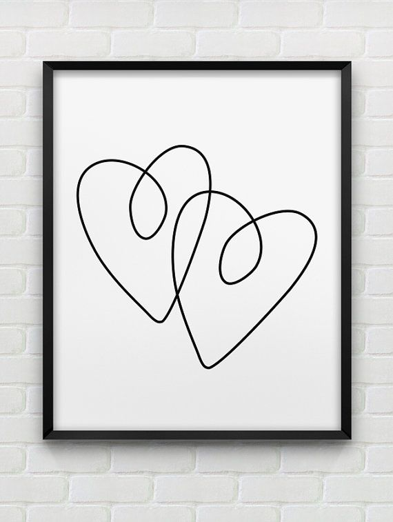 printable two hearts poster // instant download print // black and white romantic home decor // printable heart wall art