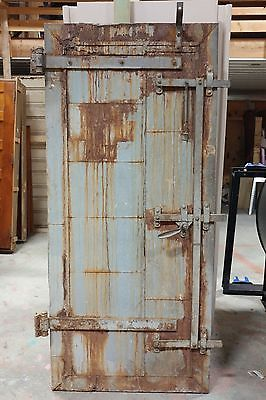 "Vintage Industrial Fire Door Tin Clad 36"" - Original Hardware AMAZING PATINA"