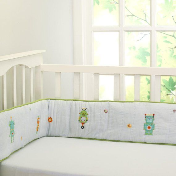 Rockin Robot Printed Full Crib Bumper Baby Boy Blue Green Orange Crib Bedding Free Personaliza Crib Bumper