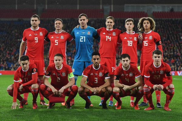 The Wales team line up before the International match between Wales and Panama at Cardiff City Stadium on November 14, 2017 in Cardiff, Wales.