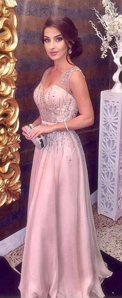 Pink Sparkly Beading V neck A Line Prom Dress,Sleeveless Long Formal Party Dress #pink #Sparkly #beading #vneck #okdresses