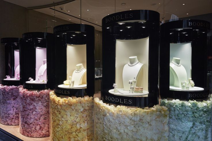 "BOODLES JEWELLERS, Sloane Street, London, UK, ""It is at the edge of a petal that love waits"",  (Hand-Dyed Petals), pinned by Ton van der Veer"
