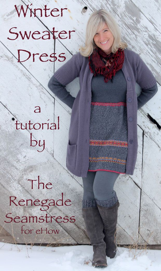 http://chicenvelopements.files.wordpress.com/2013/12/sweater-dress-after-for-ehow-2.jpg.  The best part is that she just uses ordinary zig-zag stitches rather than a serger...