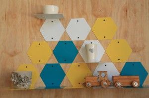 Hexagonal shelves: Made to order, these shelves can be used by themselves, or combined with the hex...