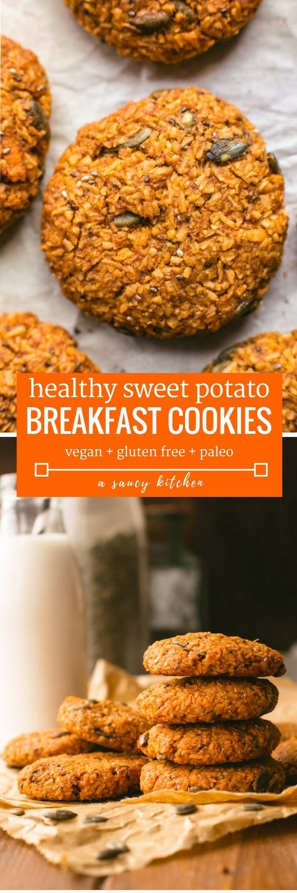 Healthy Sweet Potato Breakfast Cookies - made with desiccated coconut, a variety of seeds, mashed sweet potato and sweetened with coconut sugar | Paleo + Vegan http://healthyquickly.com