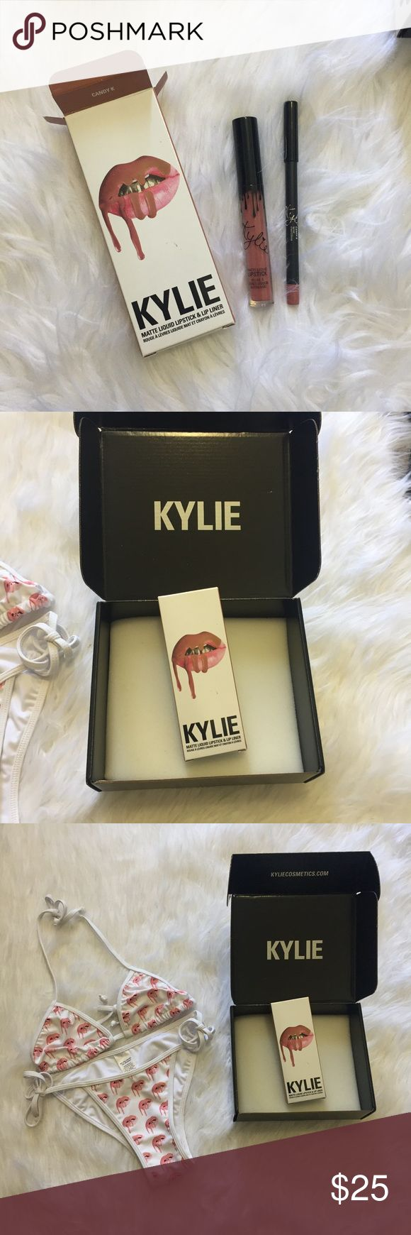 KYLIE COSMETICS brand new CANDY K lip kit Brand new! I was rushing to order and I was ordering on my laptop and it glitched so i tried my phone and it worked but since i was on the same account it added everything twice to my cart and charged me twice! So i have doubles of my order Kylie Cosmetics Makeup Lipstick