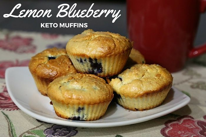 Keto Lemon Blueberry Muffins. Gluten-free, keto, lchf, atkins muffins.