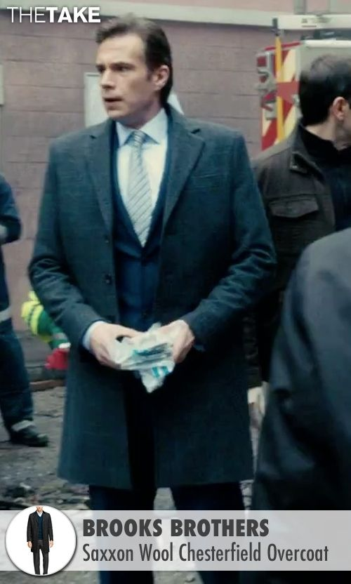 Brooks Brothers gray overcoat from Survivor seen with James D'Arcy (Paul Anderson)