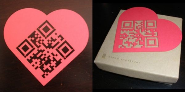 Laser cut paper heart QRcode
