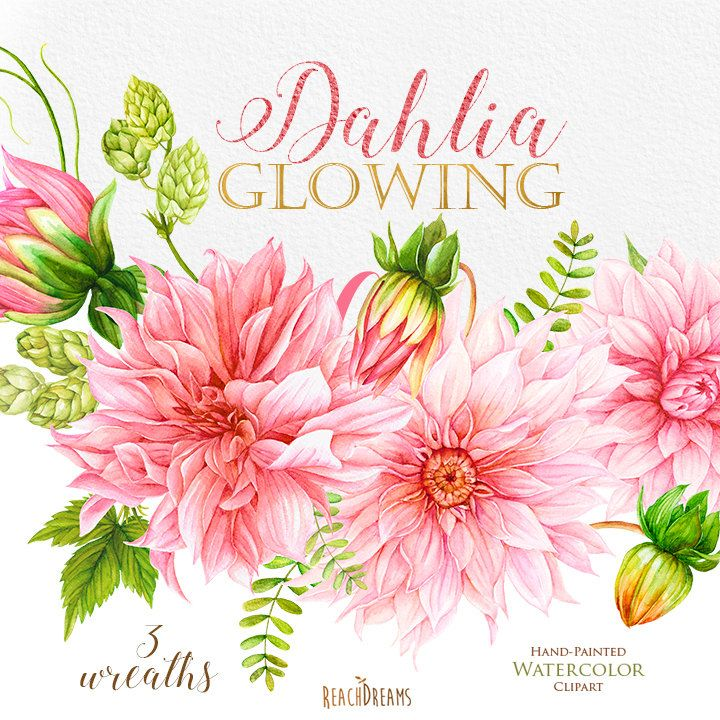 ClipArt acquerello dalie corone di fiori matrimonio di ReachDreams