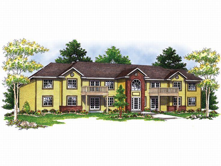 188 best multi family plans images on pinterest duplex for Multi family apartment plans