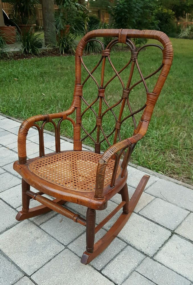 Antique Wood Frame Wicker Childs Rocking Chair Rocker Cain