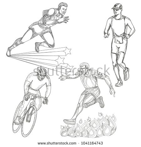 A collection of doodle art illustrations that includes the following sports; track and field runner, marathon or triathlete runner, obstacle course race and bicycle or cycling done in black and white.  #sports #doodle #illustration