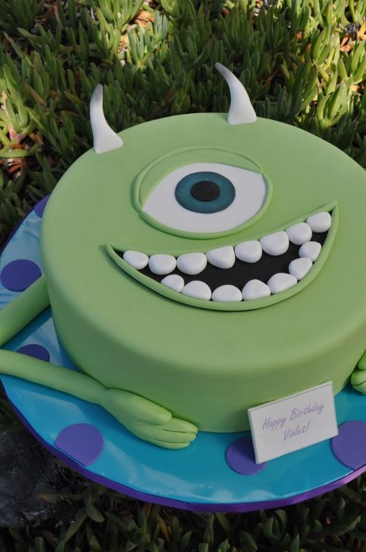 Green kids cake Mike Wazowski Cake