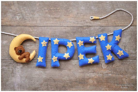 Sentivo il banner di nome, nursery decor, regalo personalizzato teddy, baby feltro lettere, bambino camera bambino nome garland, nome personalizzato di feltro, MADE TO ORDER