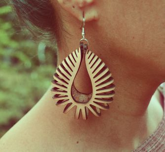 Laser Cut Earrings Nautilus NATURAL by StrapandStrand on Etsy