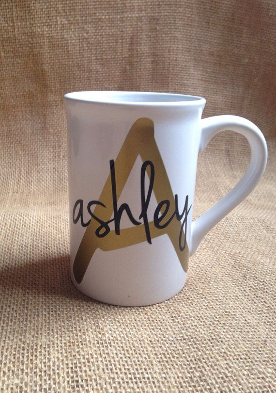 Personalized Initial and Name Coffee Mug by VinylVibesShop on Etsy