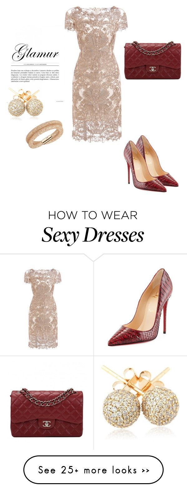 """sexy & elegance"" by littlecanary on Polyvore featuring Christian Louboutin, Chanel, Swarovski and Loushelou:"