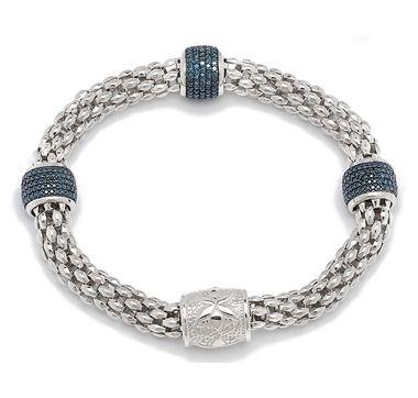 Blue Diamond Pave Set Sterling Silver Bracelet