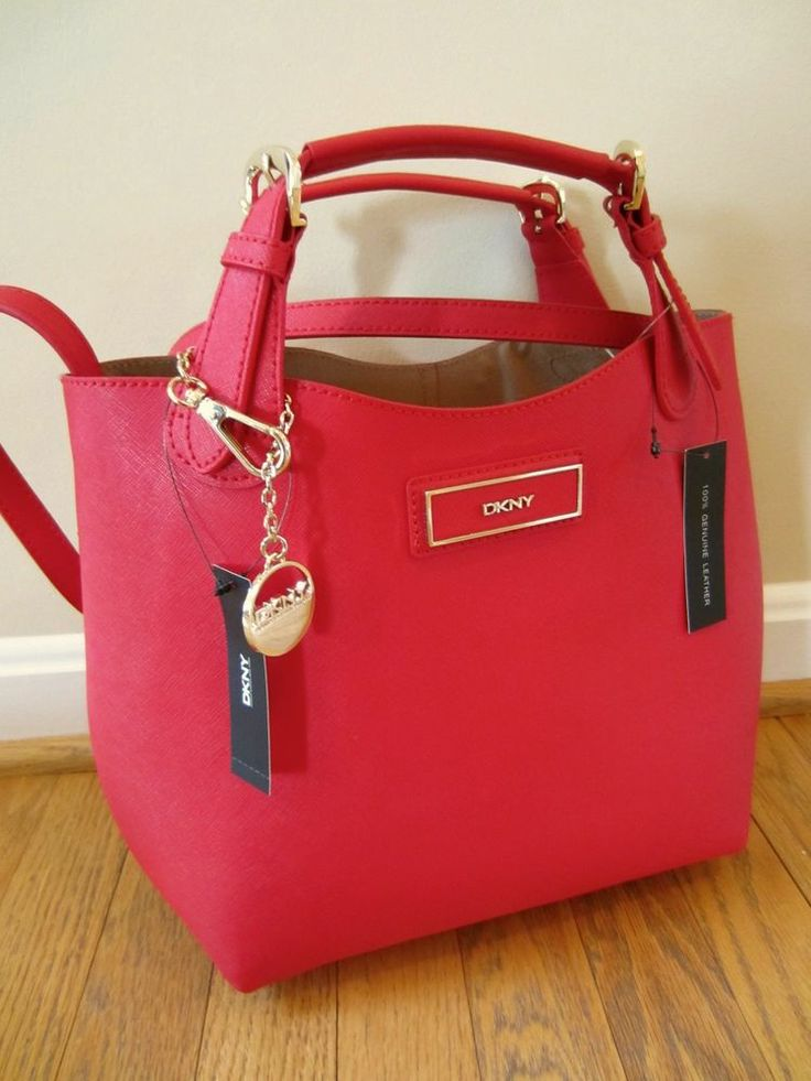 Dkny Donna Karan Red Saffiano Leather Tote Satchel Bag