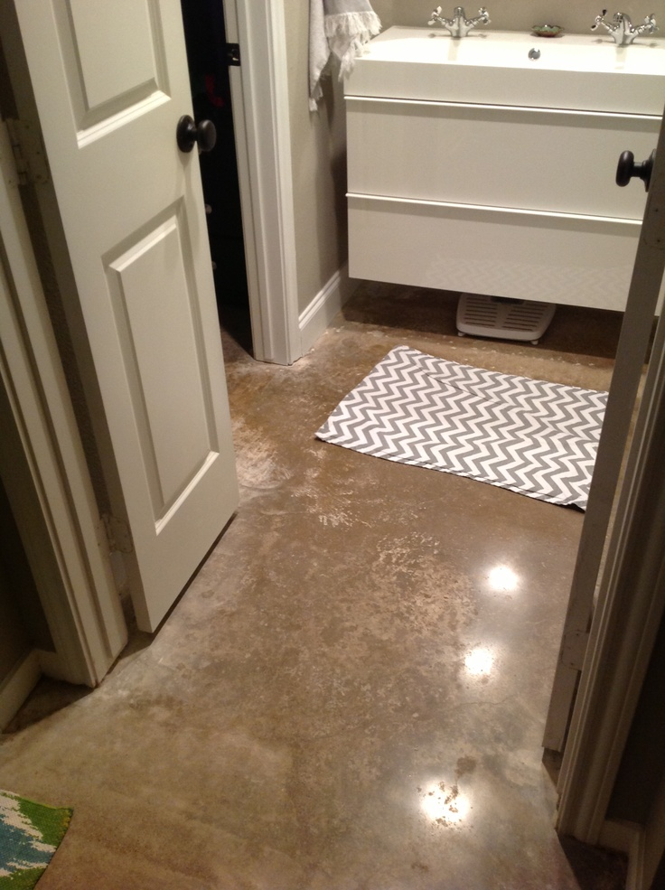 Small Master Bathroom Redo Polished Concrete Floors And 5