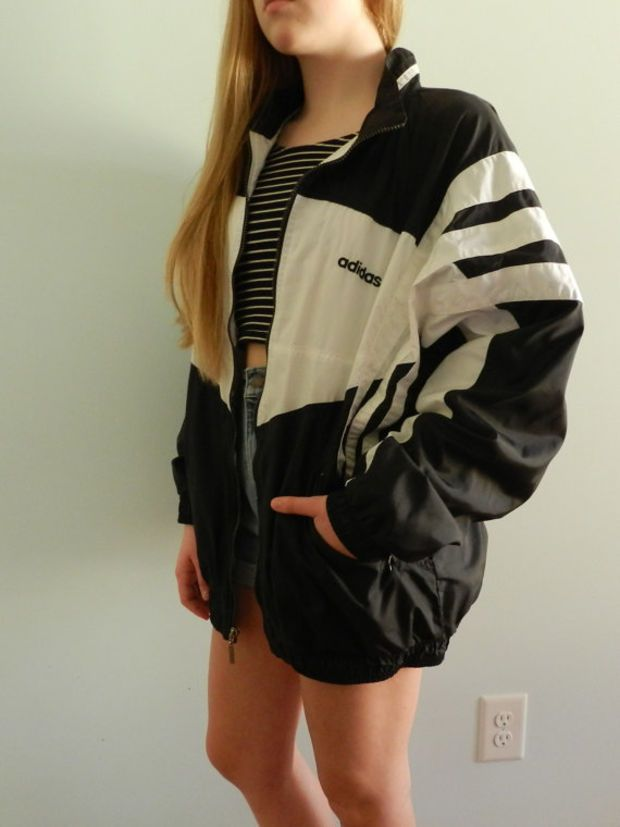 Vintage Adidas Windbreaker in Black and White Nylon, Size L