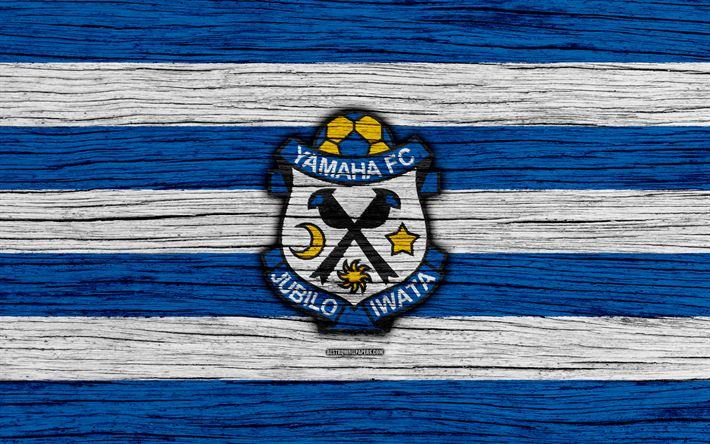 Download wallpapers Jubilo Iwata, 4k, emblem, J-League, wooden texture, Japan, Jubilo Iwata FC, soccer, football club, logo, FC Jubilo Iwata