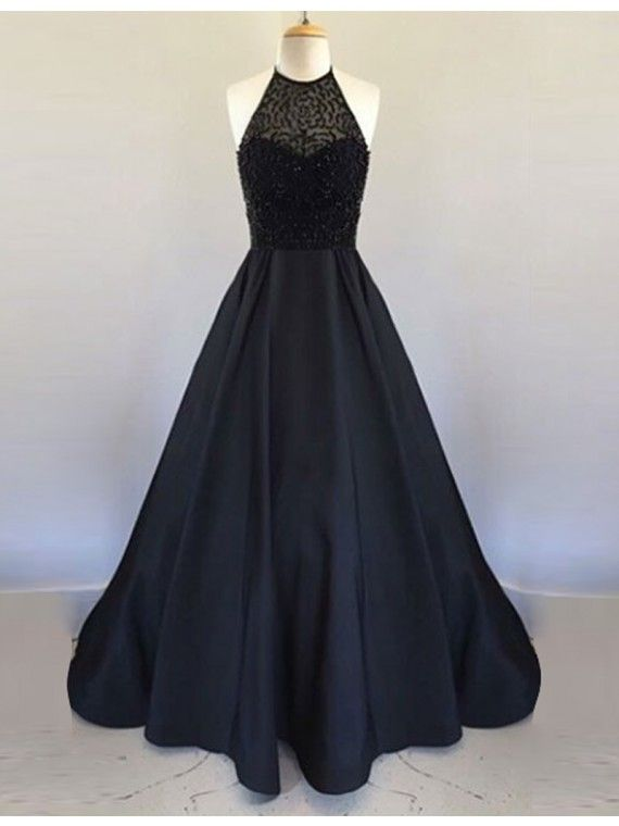 Elegant A-Line Halter Sleeveless Backless Long Black Prom Dress with Beading