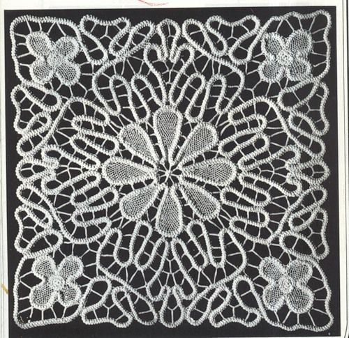 Romanian Point Lace crochet square mat