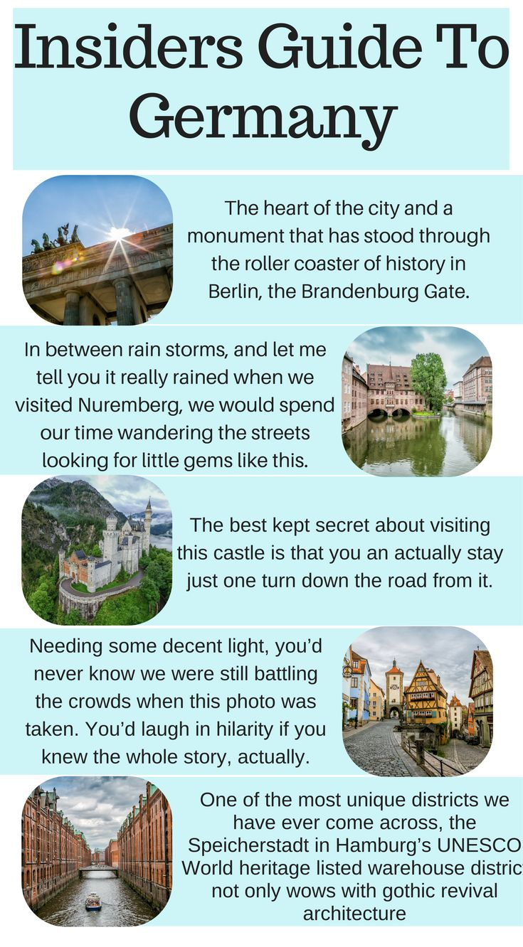 Insiders Guide To Germany. The whole country is gorgeous and we can't say enough good things about how unique your visit to Germany can be. Between the landscapes, colors, brew houses, beer and brat culture and history you could easily... Click to read more