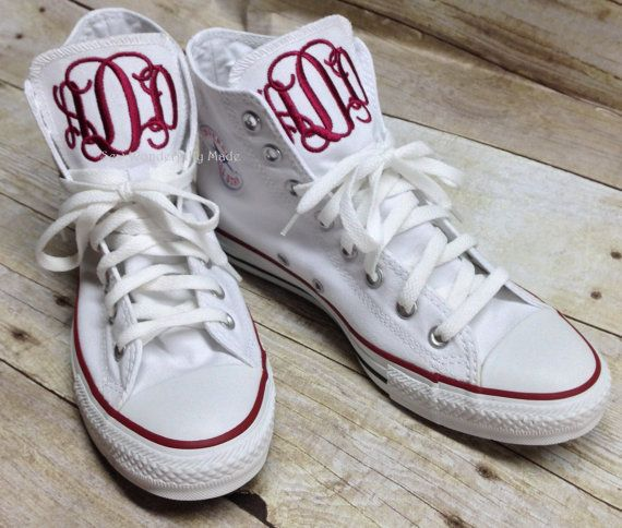 Monogrammed Converse Hight Tops, Monogrammed Chucks, Monogrammed Chuck Taylors, Personalized Shoes, High Top Converse, Women's Converse by sewwonderfullymade4u. Explore more products on http://sewwonderfullymade4u.etsy.com
