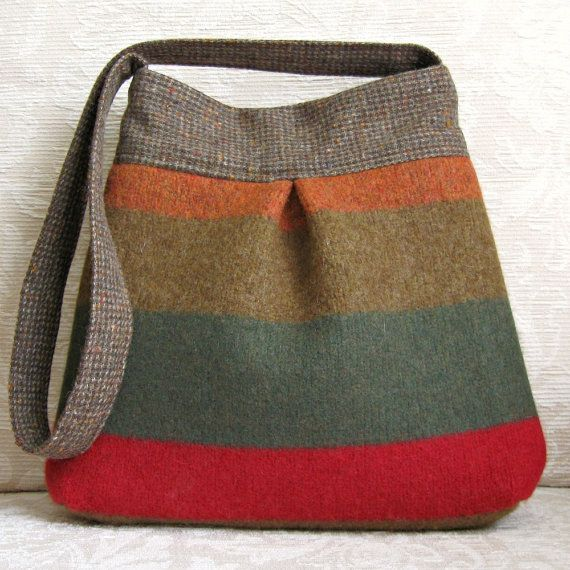 Autumn Stripe BELLA Handbag, Upcycled Wool Sweater Purse