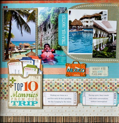 #papercraft #scrapbook #layout vacation scrapbooking I like the top ten memories but I would display all of them instead of the pocket
