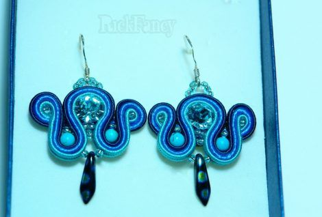 Swarovski earrings, soutache jewelry, gift for women, gift for girls, blue jewelry, blue earrings