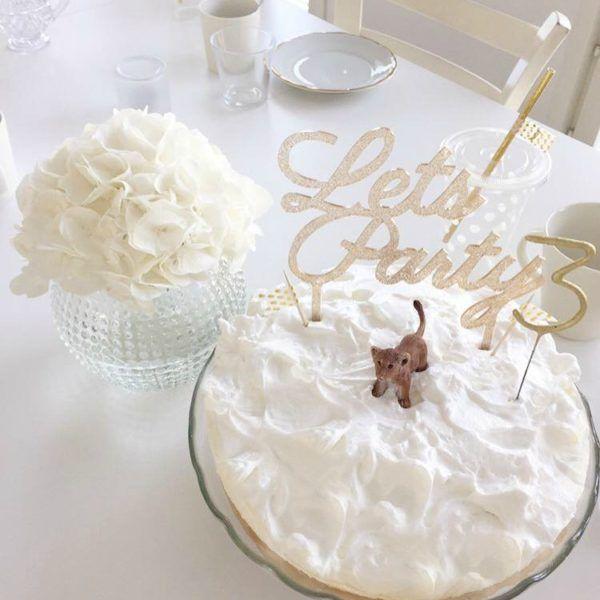 Kultainen kakunkoriste Lets Party
