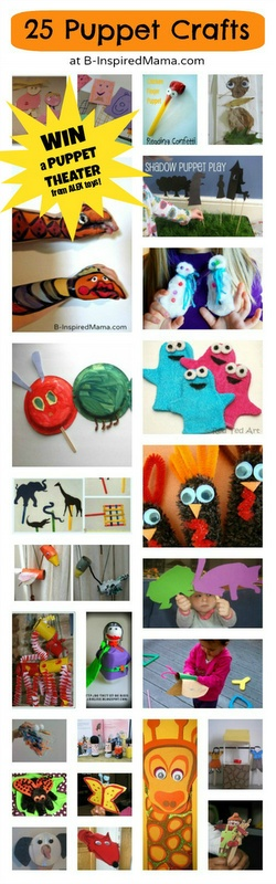 Find 25 Ways to Make Puppets with Kids and Enter to WIN a Puppet Theater from @ALEXtoys and B-InspiredMama.com!