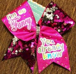 I'm so Fancy You Already Know Hot Pink and Reversible Sequins Cheer Bow