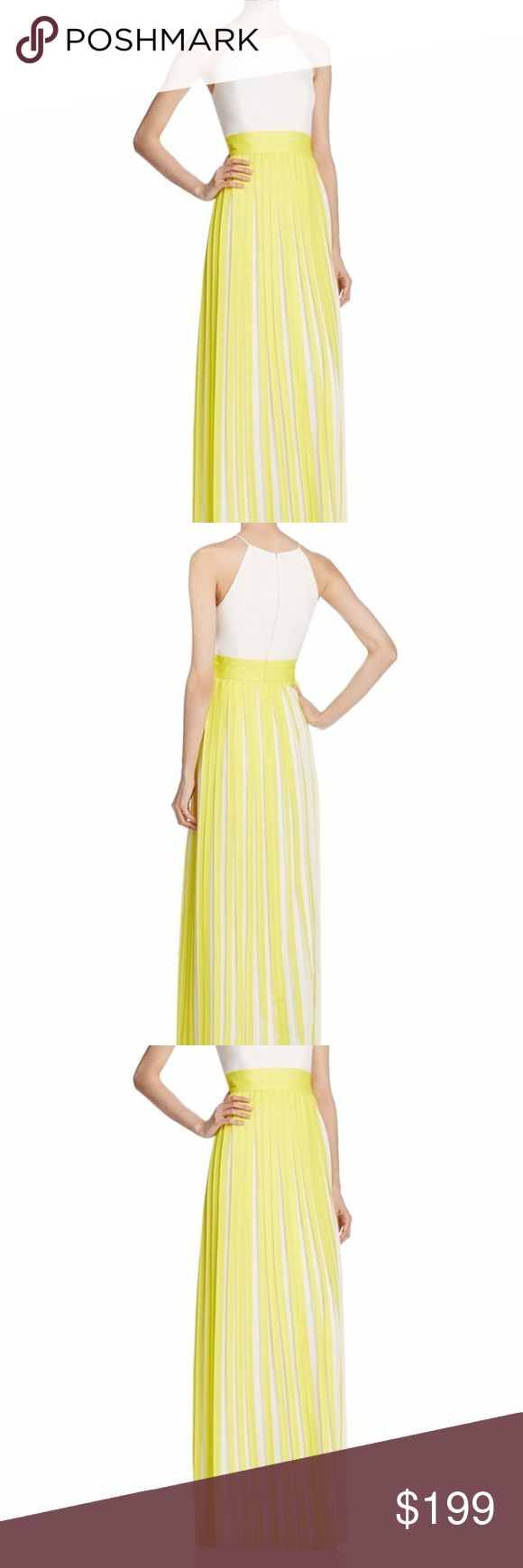 Aidan Mattox Pleated Brocatelle Dress Gown Lemon Show off a confident radiance that only an impeccably styled Aidan Mattox masterpiece can bring and bloom in dazzling beauty and luminous glow in this fascinatingly vibrant Aidan Mattox dress. Gorgeously fitted with sculpting seams along its immaculate bodice, this lovely piece presents a high halter neckline supported with flimsy straps that connects to its racerback. Embraced at the waist with triple bands for that cinched look, the A-line…