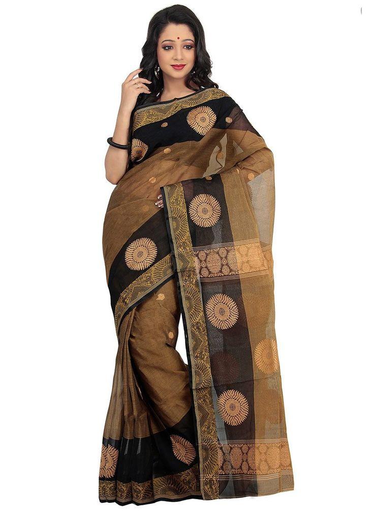 Brown Tangail Bengal Cotton Saree