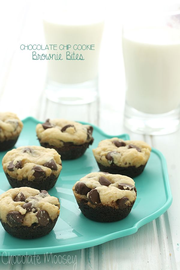 Can't decide between chocolate chip cookies and brownies? Now you can have both with these Chocolate Chip Cookie Brownie Bites! They may be tiny in size, but they are big in flavor.