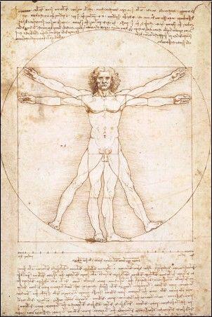 Étude de Léonard de Vinci sur le corps humain. Ce dessin est connu sous le nom de l'homme de Vitruve, 1485-1490.