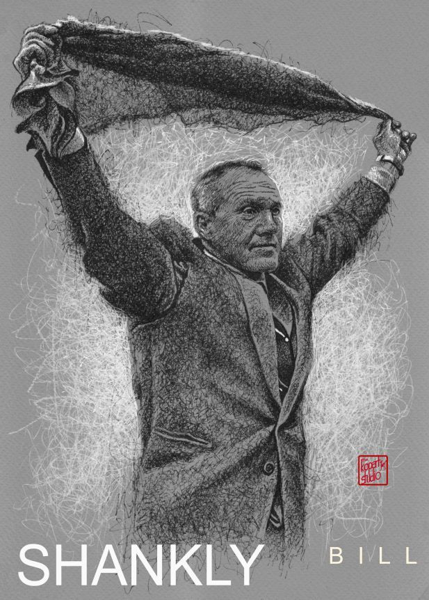 The Great Bill Shankly : Liverpool FC : black pen drawing Illustration #Liverpool #TheKopArtsStudio #liverpoolfc #football #thisisanfield #lfc #lovelfc #ynwa #picoftheday #matchday #art #drawing #Illustration