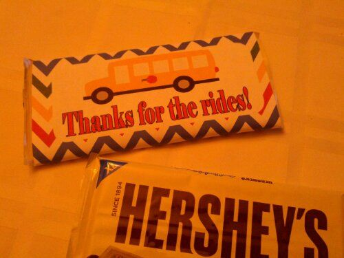 Bus Driver End of The Year Gift.  Free to download xl Hershey Candy Bar Wrapper.  Teaching Heart!