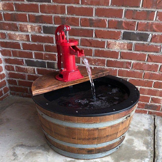 1 2 Wine Barrel Fountain Old Fashion Water Pump With Not Electric Pump In 2020 Wine Barrel Barrel Fountain Whiskey Barrel Fountain